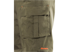 Zipped thigh pocket. Bellows cargo pocket, opposite side